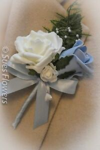 corsage double buttonhole light blue and ivory luxury