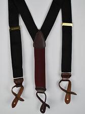 SAKS Black Braces Suspenders Burgundy back strap  Smooth Leather