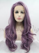 Purple Wavy Synthetic Lace Front Wig 24""