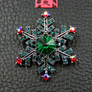 Hot Betsey Johnson Green Rhinestone Christmas Snowflakes Charm Brooch Pin Gift