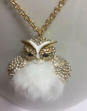 Kate Spade Star Bright Owl Rhinestone Pendant Long Necklace w/ KS Dust Bag New