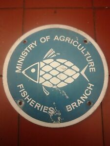 Old Metal Ministry Of Agriculture Fisheries Branch Sign.