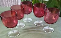 5 Vintage Thumbprint  Cranberry Red Water/wine/BeerGlass Goblets Wine  collect