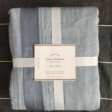 Pottery Barn LINEN WITH SILK TRIM King duvet cover Ashley Blue