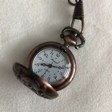 Vintage Ronica Small Pocket Watch Copper Colored White Face Quartz