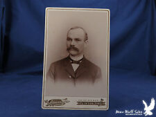 Eskelsen Cabinet Card Clinton Iowa Man GREAT MUSTACHE Thin Ribbon Bow Tie