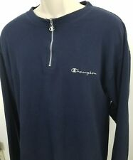 vintage champion quarter zip pullover sweater spell out embroidered Sz L 1471