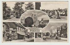 Pinner Church, High Street etc, Harrow:~1950's Est. Multiview, RP PPC, Unused.