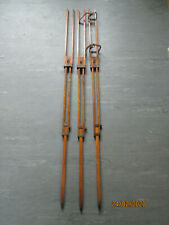 SET OF 3 ANTIQUE BRASS AND TEAK TRIPOD FOR CAMERA OR SURVEYING TOOL (LEGS ONLY )