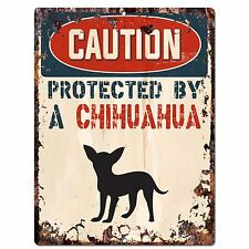 PP2085 CAUTION PROTECTED BY A CHIHUAHUA Plate Chic Sign Home Door Wall Decor