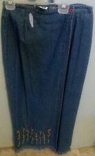 Paul Harris Jean Denim Skirt Women's Size 6 Petite Wrap Around Pencil Skirt NEW