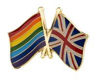 UNION JACK UK & LGBT RAINBOW FRIENDSHIP RESPECT FLAG Metal Pin Badge 25x19mm
