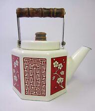Vintage 1978 M. KAMENSTEIN Hexagon Tea Kettle Cherry Blossom and Maze Design