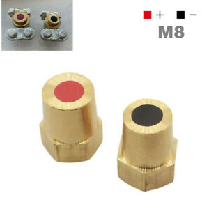 Pair M8 Car Battery Terminal Connector Clamp Clip Post Block Negative & Positive