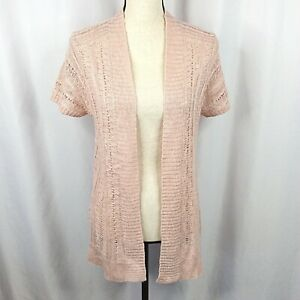 Maurices Cardigan Sweater Womens Small Pink Short Sleeve Open Front Crochet Long