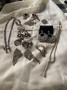 Diamante Jewellery Bundle Brooches, Earrings Etc