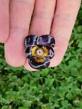 Rare Victorian 14K Or 18K Gold Diamond Enamel Guilloche Pansy Flower Pin Brooch!