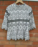 Ladies River Island White Black Embroidered Frill Sleeve Blouse Top Peplum 14
