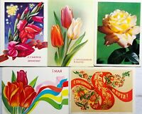 1980s Postcards Vintage 5 pcs Lot Flowers Soviet Greeting card Unposted