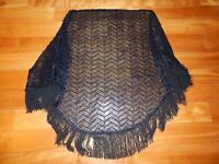 "Women's Black Dressy Fringed Dress Wrap Shawl - 70"" Length - VINTAGE ITEM"