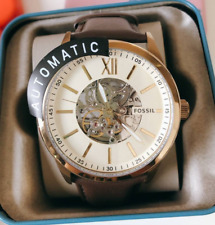 Fossil Flynn Automatic Men's Cream Dial Leather Band Watch BQ2382