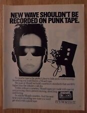 1983 Print Ad Maxell Cassette Tapes ~ New Wave Music Shouldn't Be On Punk Tape