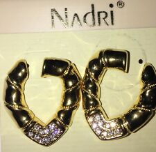 NADRI Gold With Crystals Clip On Drop Earings New With Tags