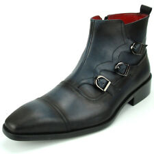 FI-8709 Black Brushed Leather Cap Toe Triple Buckle With Side Zipper Fiesso Boot