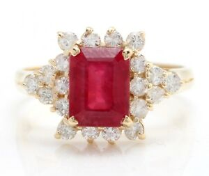 3.10 Carat Natural Red Ruby and Diamonds in 14K Solid Yellow Gold Ring