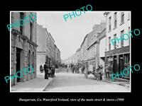 OLD LARGE HISTORIC PHOTO OF DUNGARVAN WATERFORD IRELAND, MAIN ST & STORES c1900