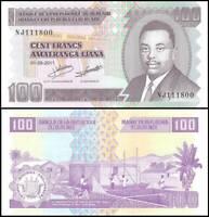 BURUNDI  50  FRANCS  2007  Prefix DW  P 36g  LOT 5 PCS   Uncirculated  Banknotes
