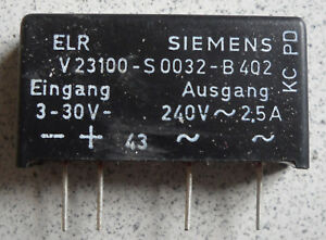 SIEMENS V23100-S0032-B402 Solid State Relay 3-30V DC, 240V AC 2,5A NOS