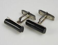 Estate Vintage Elegant Sterling Silver Black Onyx Modern Barrel Shape Cufflinks
