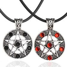 Retro Men Pentagram Pentacle Star Round crystal Pendant Leather Cord Necklace MA