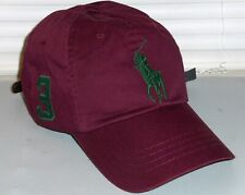 POLO RALPH LAUREN Men's Big Pony Chino Baseball Cap Hat, Leather Strap, WINE nwt