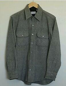 Sears Men's Wool Shirt Medium Long Sleeves Button Front Vintage