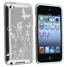 iPod Touch 4 4G Case - Transparent Clear & White Gel Skin  - Butterfly & Flowers