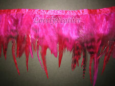 Saddle hackle feather fringe hot pink chinchila color 2 yards trim