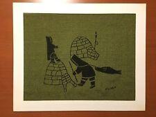 Helen Kalvak Silkscreen On Burlap Print Seal Hunt Copper Inuit Holman Eskimo Art