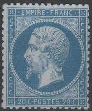 "FRANCE  STAMP TIMBRE N° 22 "" NAPOLEON III 20c BLEU 1862"" NEUF xx TTB SIGNE  K615"