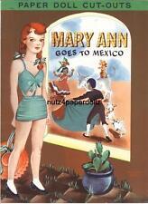 Vintge 1940S Maryann Mexico Paper Dolls ~Lilja~Pretty Laser Repro~Org Size Uncut