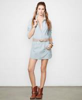 New Denim & Supply Ralph Lauren Womens Pintucked Chambray Shirt Dress Blue $73