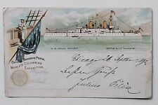 27363 PC US Battle Ship Illinois 1893 Naval Exhibit with stamps AK Schiff USA