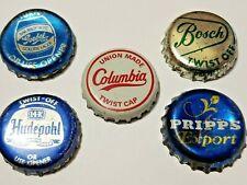 FIVE Vintage 1950s Beer Bottle Caps -  HUDEPOHL PRIPPS BOSCH GOEBEL COLUMBIA