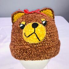 DayLee Design Bear Hand Crocheted Baby Hat 6-12 Months Brown Red Ribbon New