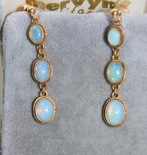 Vintage 9c Yellow Gold 3 stone dangle Cascade Opal stone Screw Earrings 7j 121