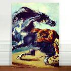 "Ichigawa Kuniyoshi Horse fighting a Lion ~ FINE ART CANVAS PRINT 8x12"""