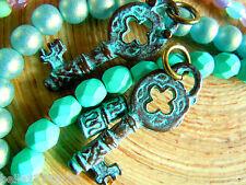 Neue Antik Stil Green Patina Schlüssel aus Keramik- Anhänger+Öse- 16x32mm-2Stk.-