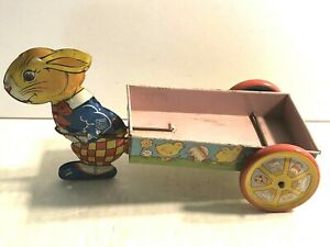 Vintage J. Chein Rabbit Pulling Cart Tin Litho Easter Holiday Candy Container
