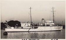 "Royal Navy Real Photo Postcard. HMS ""Franklin"" Minesweeper/Survey ship. 1938"